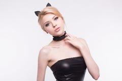 Portrait of cat girl with makeup in studio.  Stock Images