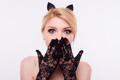 Portrait of cat girl with makeup in studio.  Royalty Free Stock Images