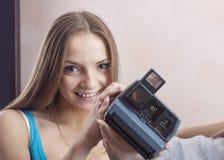 Portrait of Caucasian Blond Female Wearing Dental Bracket System Royalty Free Stock Images