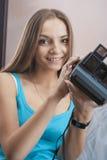 Portrait of Caucasian Blond Female Wearing Dental Bracket System Royalty Free Stock Photos