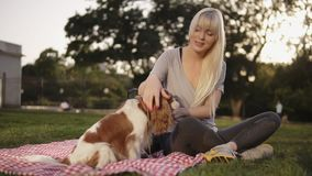 Portrait of caucasian blonde woman with her dogs in park, sitting relaxed on green grass on a litter and caress pet.  stock video