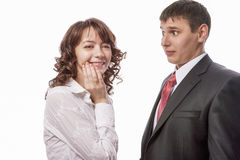 Portrait of Caucasian Couple Standing Together Demonstrating Sur Stock Photo