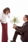 Portrait of Caucasian Couple Together Having Fun. Allegoric Flow Stock Photography
