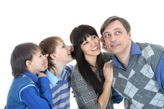 Portrait of Caucasian family of four Stock Photos