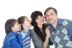 Portrait of Caucasian family of four. In the studio Stock Photos