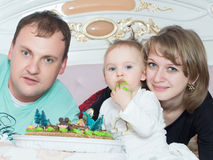 Portrait of caucasian family on happy birthday with cake royalty free stock photos