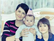 Portrait of caucasian family on happy birthday. Caucasian family on happy birthday at home royalty free stock photo
