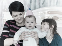 Portrait of caucasian family on happy birthday. Caucasian family on happy birthday at home royalty free stock image
