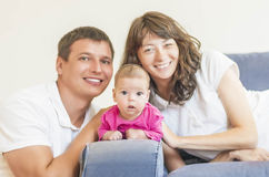 Portrait of Caucasian Family of Three People Sitting Together. P Stock Photography