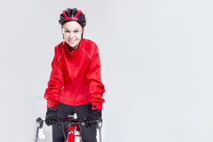 Portrait of Caucasian Female Cyclist Equipped in Cycling Outfit Stock Photo