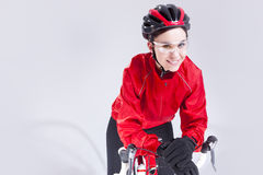 Portrait of Caucasian Female Cyclist Equipped in Cycling Outfit Royalty Free Stock Photo
