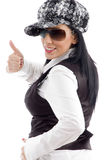 Portrait of caucasian female with thumbs up Stock Image