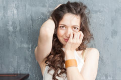 Portrait of caucasian a girl with curly hair Stock Photography