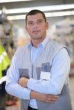 Portrait caucasian hardware store salesman Stock Photos