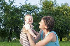 Portrait of Caucasian Mother with Her Little  Son Spending Time Together Stock Image