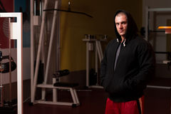 Portrait Of Caucasian Muscle Man In Hoody stock images
