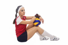 Portrait of Caucasian Professional Female Volleyball Player Equi Royalty Free Stock Photos