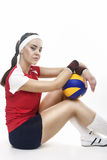 Portrait of Caucasian Professional Female Volleyball Player Equi Stock Photo