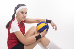 Portrait of Caucasian Professional Female Volleyball Player Sitt Stock Photos