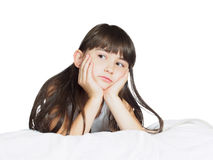 Portrait of caucasian  sad girl child kid isolated on white Stock Images