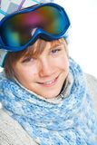Portrait of a caucasian teenager in ski wearing Stock Photo