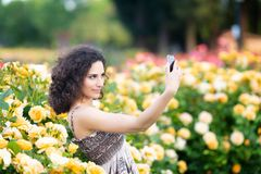 A portrait of Caucasian woman with dark curly hair taking selfie near yellow rose bushes in a rose garden stock images