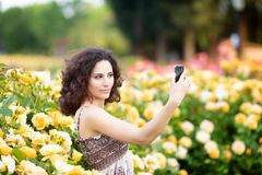 A portrait of Caucasian woman with dark curly hair taking selfie near yellow rose bushes in a rose garden royalty free stock photos