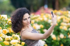 A portrait of Caucasian woman with dark curly hair taking selfie near yellow rose bushes in a rose garden stock photos