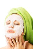 Portrait of caucasian woman with face mask Stock Images
