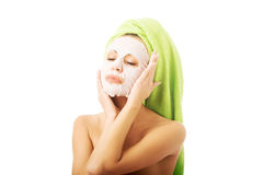 Portrait of caucasian woman with face mask Royalty Free Stock Images