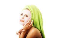 Portrait of caucasian woman with face mask Stock Image