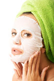 Portrait of caucasian woman with face mask Royalty Free Stock Photo