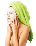 Portrait of caucasian woman with face mask Royalty Free Stock Photos