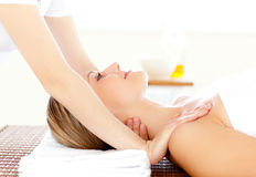Portrait of a caucasian woman having a massage Royalty Free Stock Photo