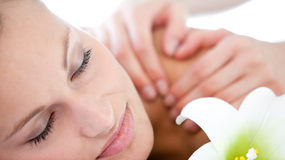 Portrait of a caucasian woman having a massage Stock Images