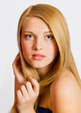 Portrait of caucasian young woman. Close-up portrait of sexy caucasian young woman with beautiful healthy hair Royalty Free Stock Photos
