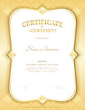 Portrait certificate of achievement template in vector with appl. Ied Thai art background, gold theme color Stock Photos