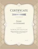 Portrait certificate of achievement template in vector with appl Stock Photos