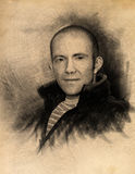 Portrait in charcoal. Artistic drawing of a man in the technique of charcoal Stock Photo