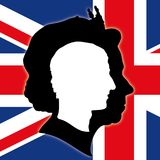 Charles of England silhouette and Queen Elizabeth with United Kingdom flag, vector illustration. Portrait of Charles of England and Queen Elizabeth with british royalty free illustration
