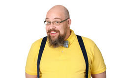 Portrait of a charming bald bearded middle-aged man in a bright Royalty Free Stock Photos
