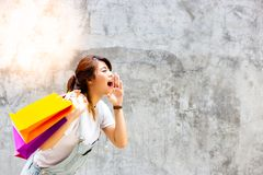 Portrait charming beautiful shopping woman. Attractive beautiful royalty free stock images