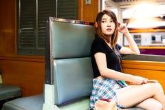 Portrait charming beautiful traveler woman. Attractive girl list stock image
