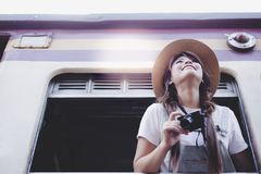 Portrait charming beautiful traveler woman. Attractive beautiful royalty free stock image