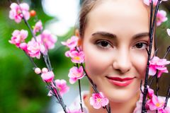 Portrait charming beautiful woman. Attractive beautiful girl has beautiful face and nice skin. royalty free stock photo