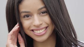 Portrait cute confident carefree African American girl looking at camera. Leisure and weekend of a pretty independent. Portrait charming confident carefree stock footage