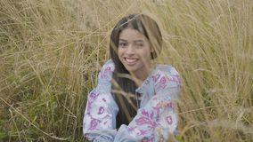 Portrait charming confident carefree African American girl wearing long summer fashion dress enjoying sitting on the. Field. Leisure and weekend of a pretty stock video
