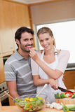 Portrait of a charming couple cooking Stock Image
