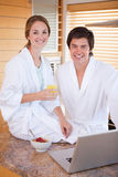 Portrait of a charming couple having breakfast  Royalty Free Stock Photography