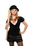 Portrait of charming girl with a bat Royalty Free Stock Images